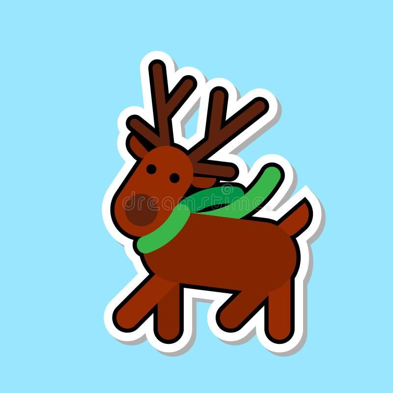 Conceito da etiqueta do Natal de Santa Deer Icon Isolated Cute ilustração do vetor