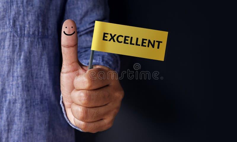 Conceito da experiência do cliente, os melhores serviços excelentes que avaliam para fotografia de stock