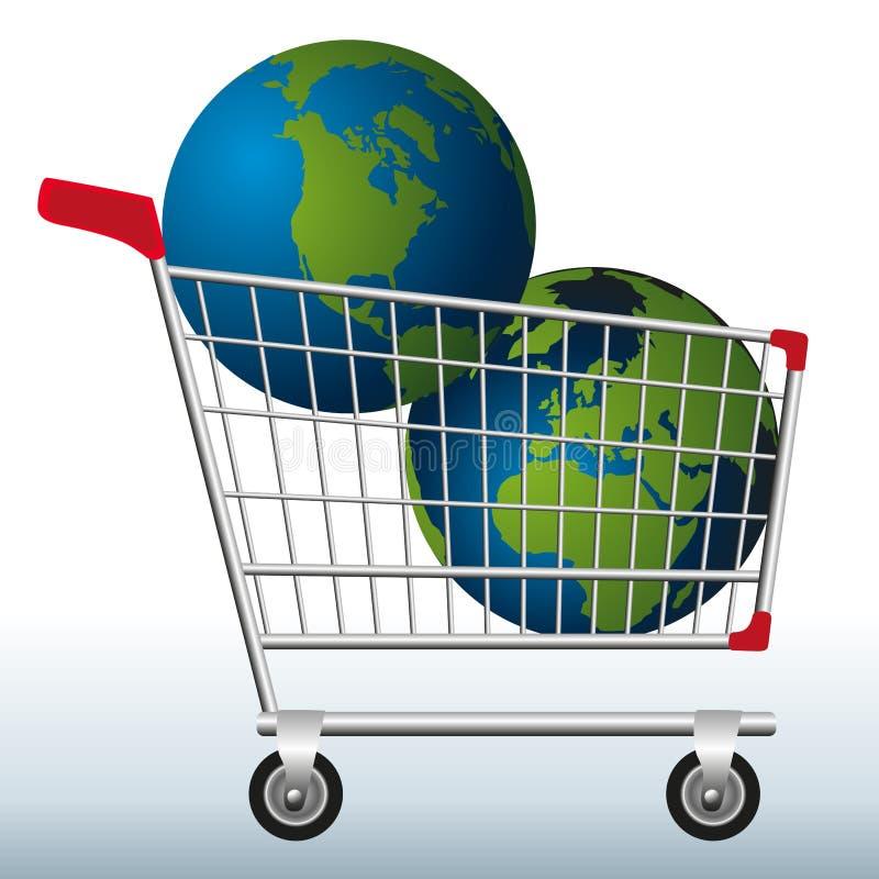 Conceito da exploração excessiva de recursos naturais da terra com dois planetas em um carrinho de compras para simbolizar o peri ilustração stock