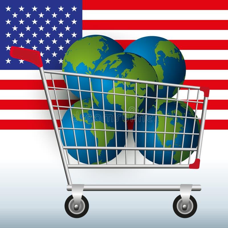 Conceito da exploração excessiva de recursos naturais da terra pelo Estados Unidos com cinco planetas em um transportador ao symb ilustração royalty free