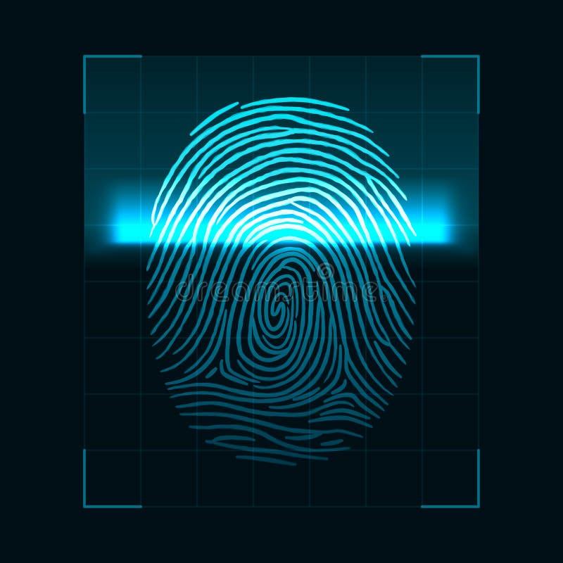 Conceito da exploração da impressão digital Sistema e proteção de dados biométricos de segurança de Digitas Tela da autorização p ilustração do vetor