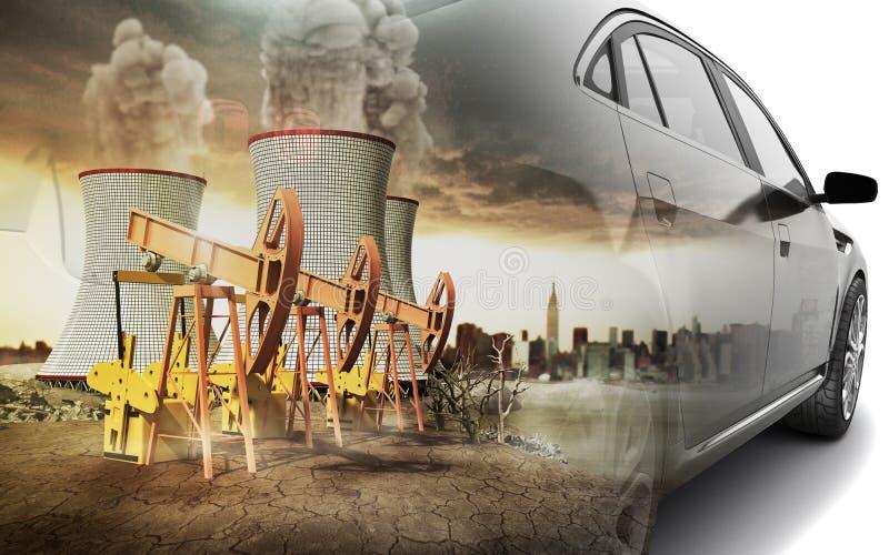 Conceito da exposição dobro da poluição do ambiente pelo a ilustração do vetor