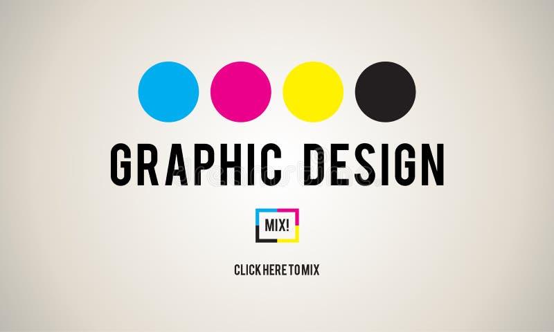 Conceito da faculdade criadora dos gráficos do projeto da tinta de CMYK ilustração do vetor
