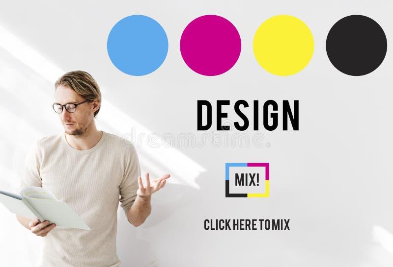 Conceito da faculdade criadora dos gráficos do projeto da tinta de CMYK imagem de stock