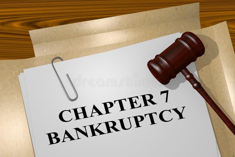 Conceito da falência do capítulo 7 ilustração do vetor