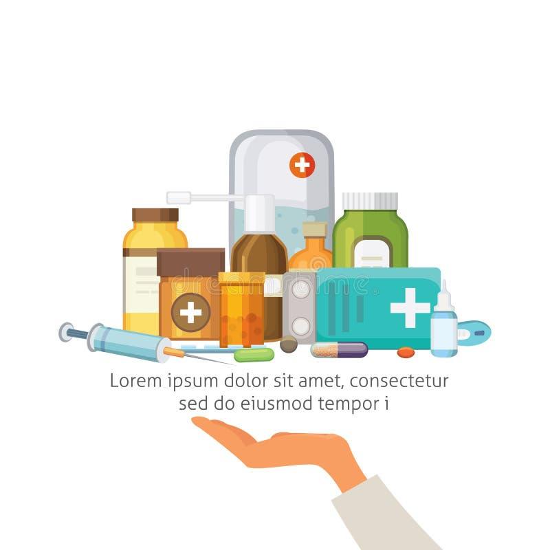 Conceito da farmácia com cápsulas dos comprimidos a mão do doutor guarda a bandeja com medicamento ilustração stock