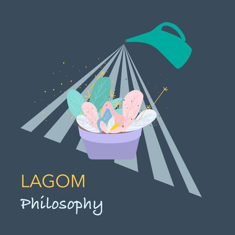 Conceito da filosofia de Lagom ilustração royalty free
