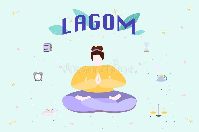 Conceito da filosofia escandinava de Lagom ilustração royalty free