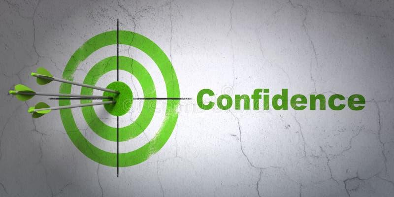 Conceito da finança: alvo e confiança no fundo da parede ilustração stock