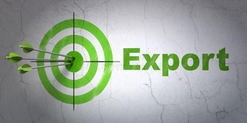 Conceito da finança: alvo e exportação no fundo da parede ilustração do vetor