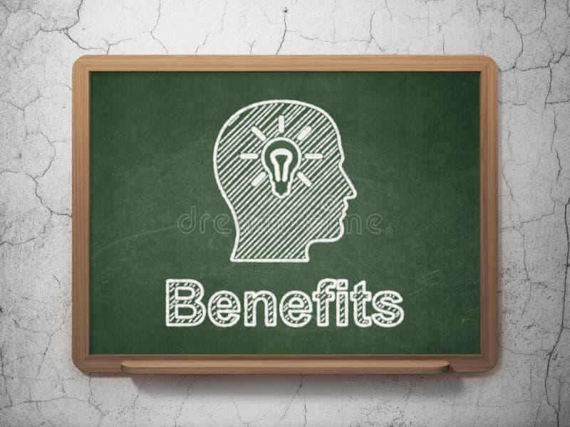 Conceito da finança: Cabeça com ampola e benefícios imagem de stock