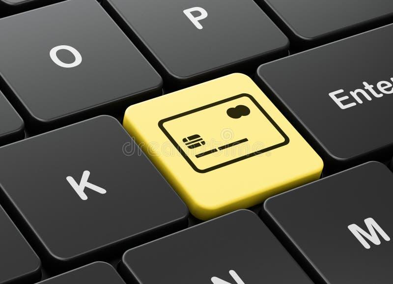 Conceito da finança: Cartão de crédito no fundo do teclado de computador ilustração stock
