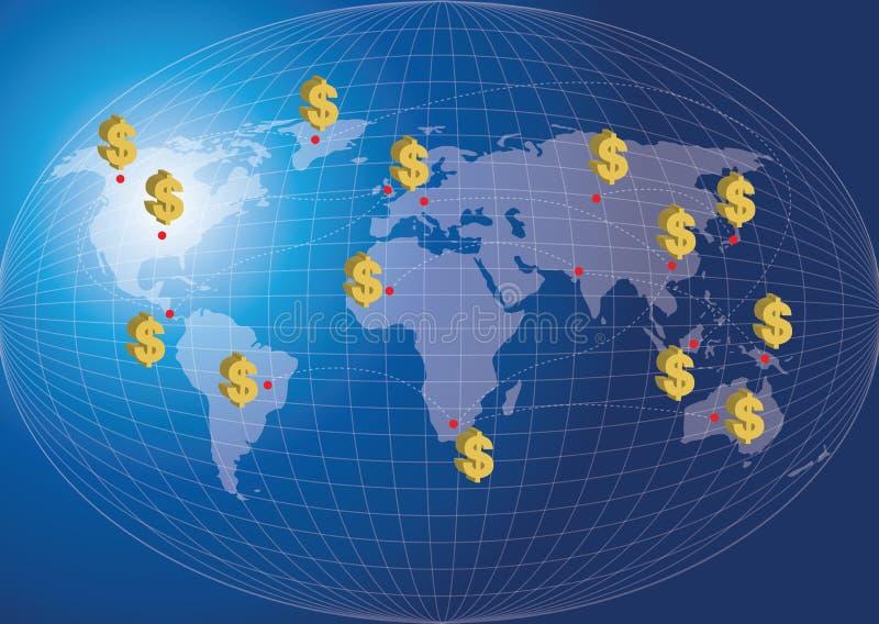 Conceito da finança do mapa do mundo. ilustração do vetor