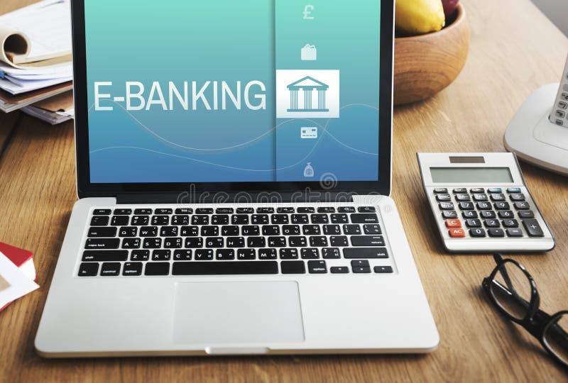 Conceito da finança do pagamento da operação bancária em linha fotografia de stock