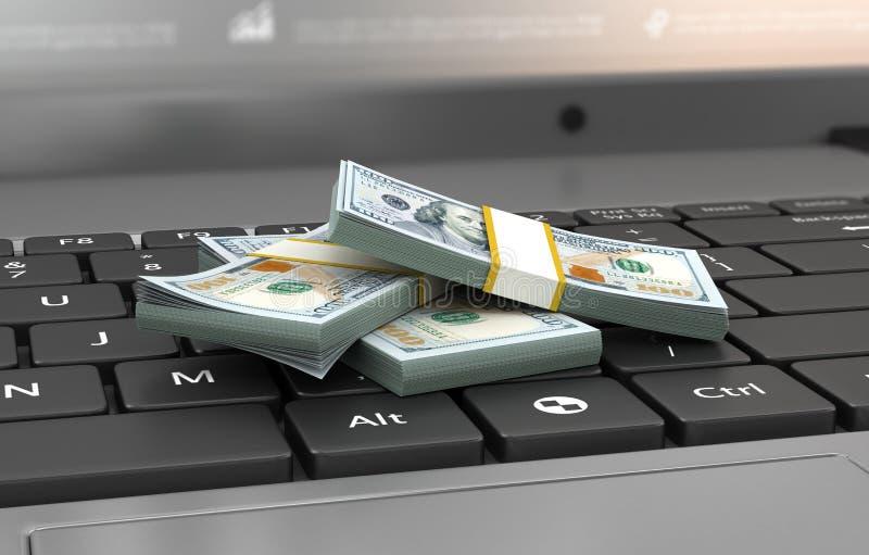 Conceito da finança e do salário, cem cédulas do dólar no regaço fotos de stock royalty free