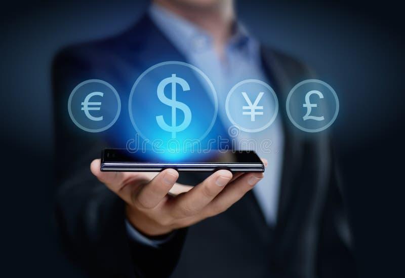 Conceito da finança da tecnologia do Internet do negócio da libra dos ienes do dólar dos símbolos de moeda euro- fotografia de stock royalty free