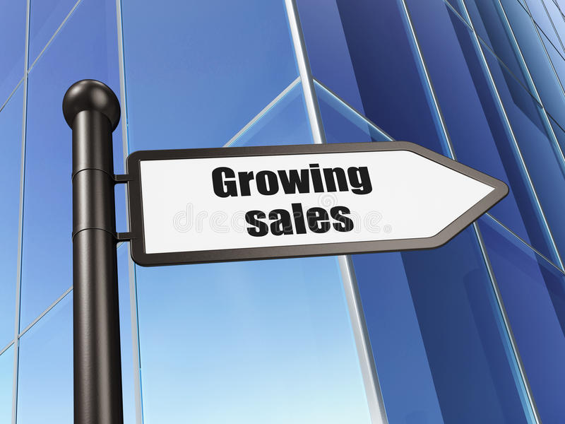 Conceito da finança: vendas crescentes do sinal na construção ilustração stock