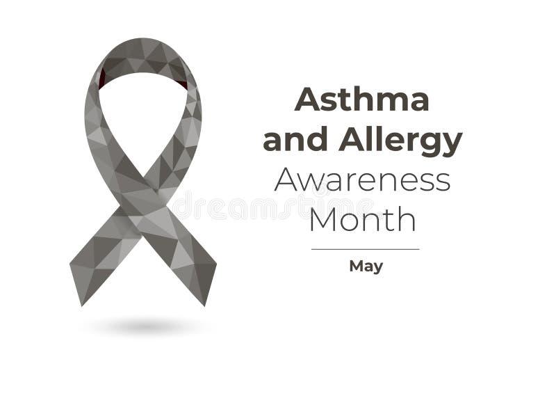 Conceito da fita do mês da conscientização da asma e da alergia ilustração royalty free