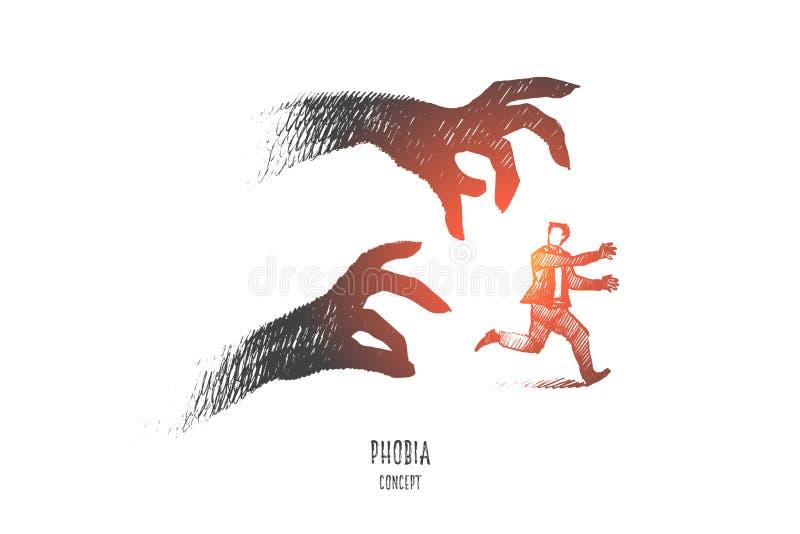 Conceito da fobia Vetor isolado tirado mão ilustração stock