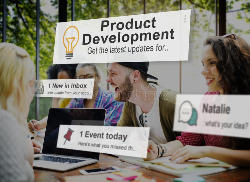 Conceito da fonte da eficiência da produtividade do desenvolvimento de produtos imagens de stock