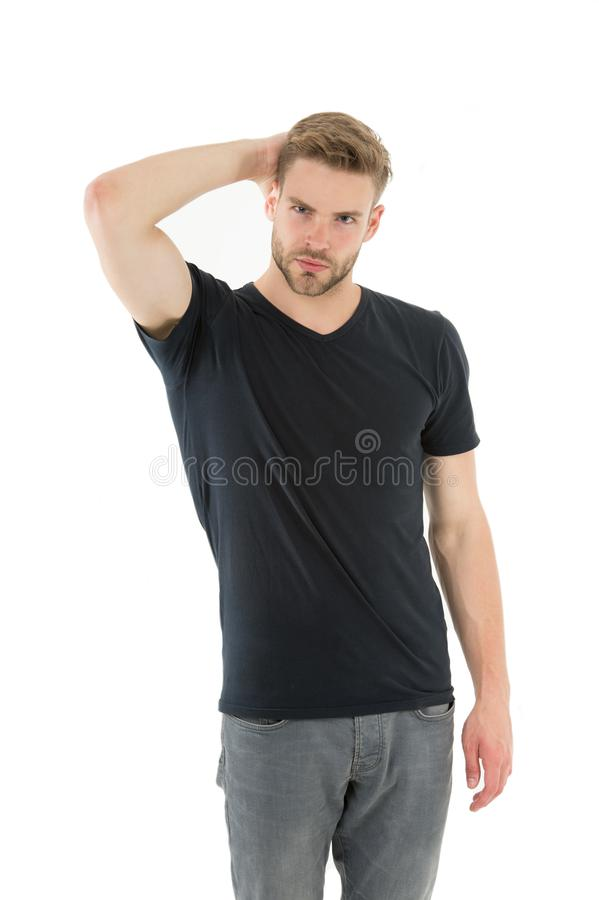Conceito da forma homem muscular n?o barbeado macho considerável Forma e beleza masculinas barbershop indivíduo na camisa preta o imagem de stock