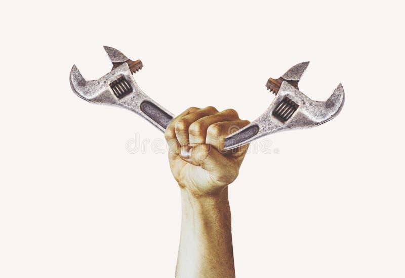 Conceito da fotografia do Dia do Trabalhador, equipamento de construção do reparo da ferramenta, close up do punho aumentado de u imagem de stock royalty free