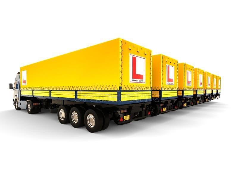 Conceito da frota da escola de condução do caminhão ilustração do vetor