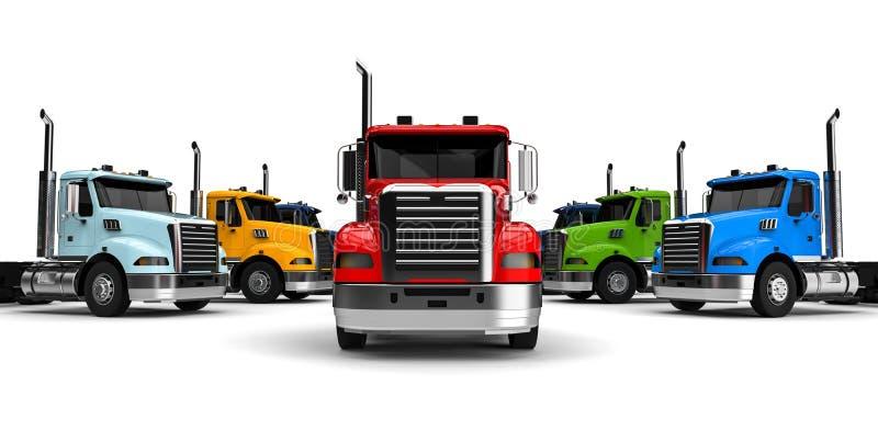 Conceito da frota de caminhões ilustração royalty free