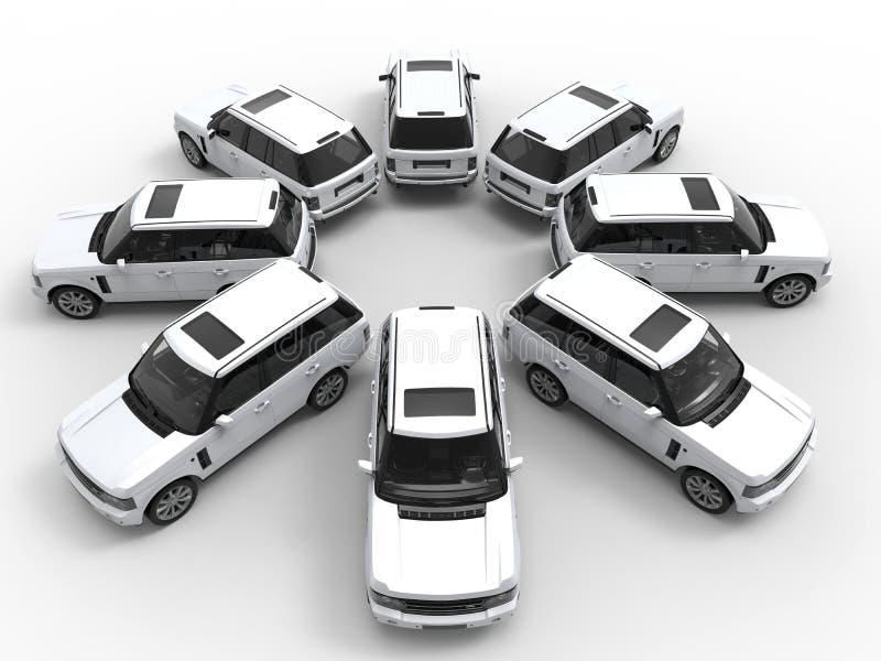 Conceito da frota de SUV ilustração do vetor