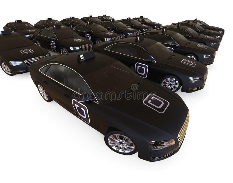 Conceito da frota de Uber ilustração royalty free