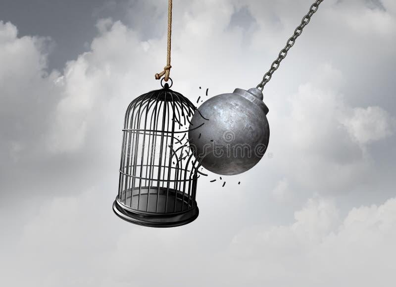 Conceito da gaiola da liberdade ilustração do vetor