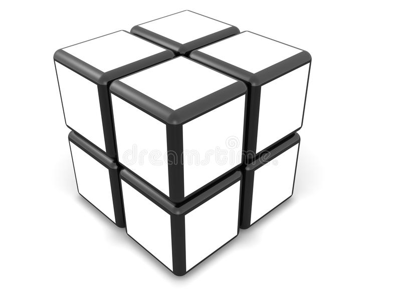 Conceito da galeria do frame da foto do cubo ilustração royalty free