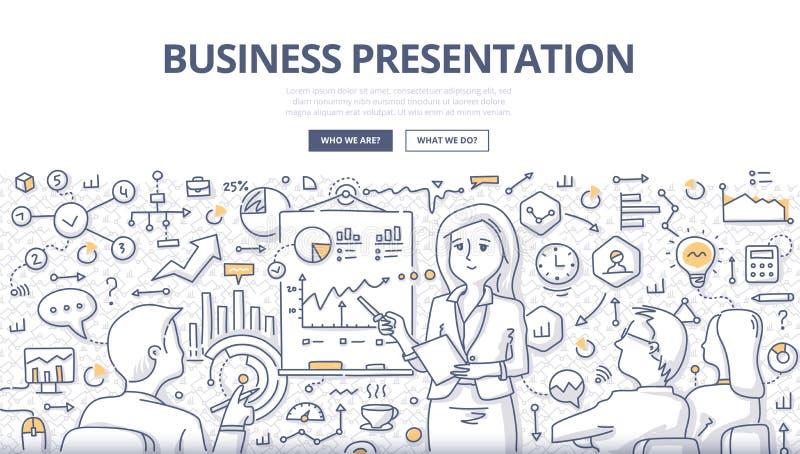 Conceito da garatuja da apresentação do negócio ilustração stock