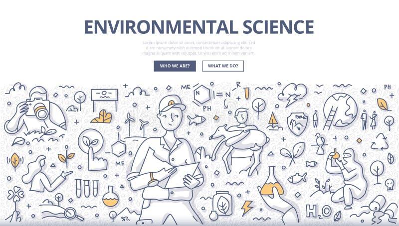 Conceito da garatuja da ciência ambiental ilustração do vetor