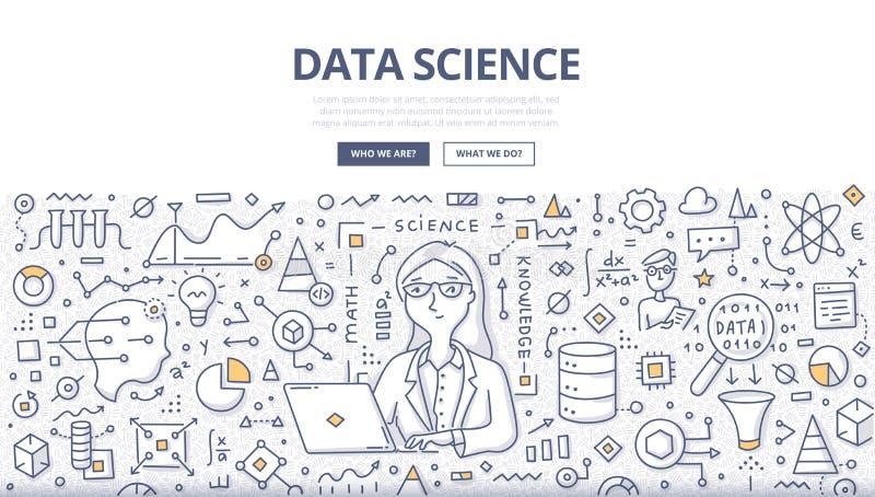 Conceito da garatuja da ciência dos dados ilustração royalty free
