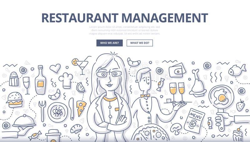 Conceito da garatuja da gestão do restaurante ilustração do vetor