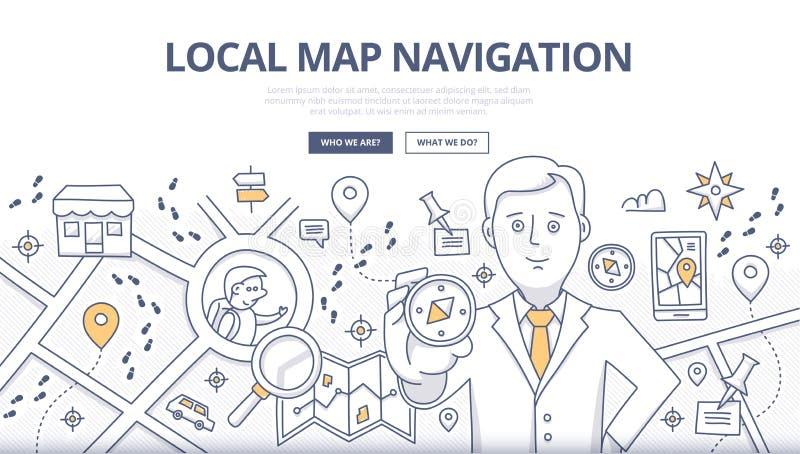 Conceito da garatuja da navegação do mapa ilustração do vetor