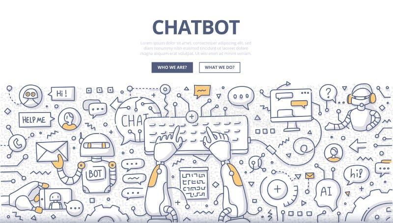 Conceito da garatuja de Chatbot ilustração do vetor