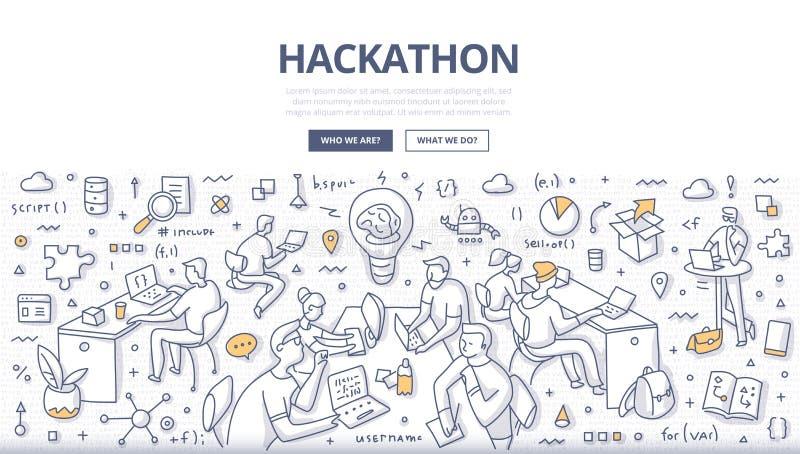 Conceito da garatuja de Hackathon ilustração stock