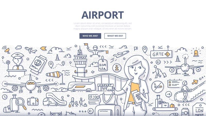Conceito da garatuja do aeroporto ilustração royalty free