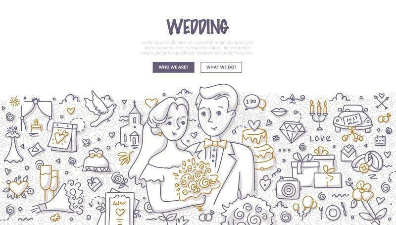 Conceito da garatuja do casamento ilustração stock