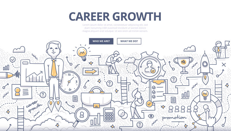 Conceito da garatuja do crescimento da carreira ilustração stock
