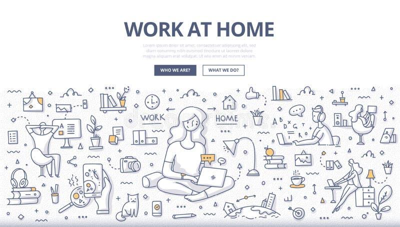 Conceito da garatuja do trabalho em casa ilustração royalty free