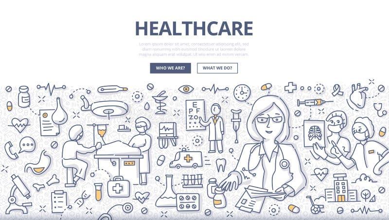 Conceito da garatuja dos cuidados médicos ilustração do vetor