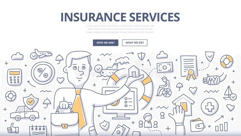 Conceito da garatuja dos serviços de seguro ilustração royalty free