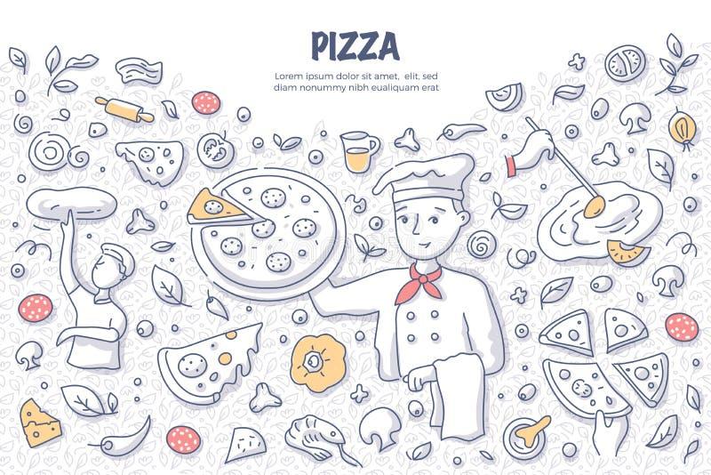Conceito da garatuja da pizza ilustração stock