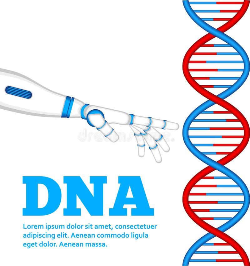 Conceito da genética com mão do robô ilustração do vetor