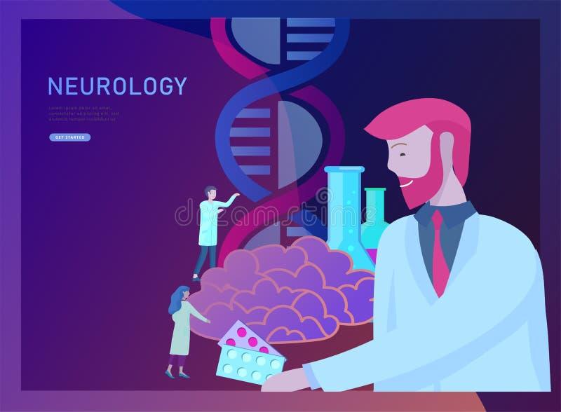 Conceito da genética da neurologia As pessoas pequenas lisas do estilo medicam o funcionamento da equipe médica, construindo o AD ilustração stock
