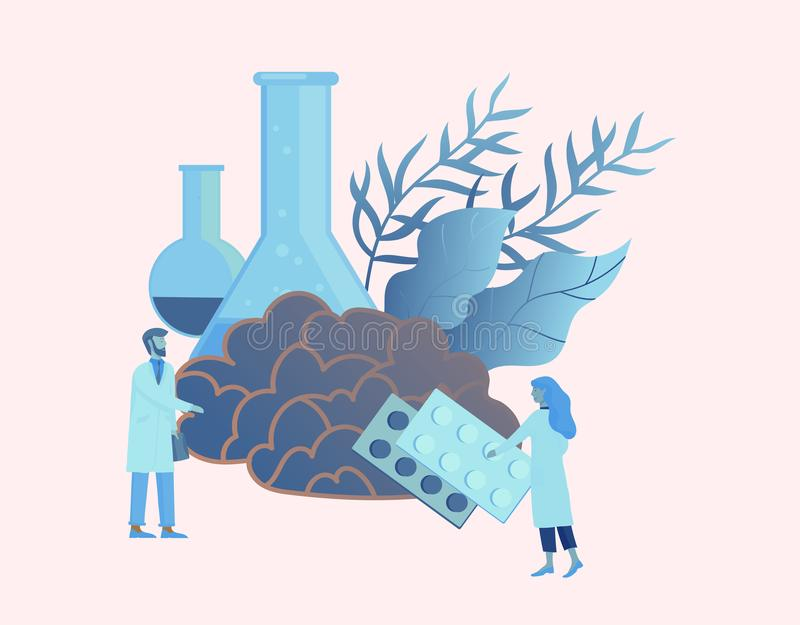 Conceito da genética da neurologia As pessoas pequenas lisas do estilo medicam o funcionamento da equipe médica, construindo o AD ilustração do vetor