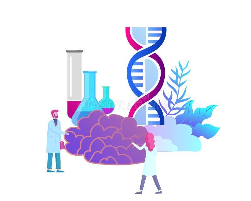 Conceito da genética da neurologia As pessoas pequenas lisas do estilo medicam o funcionamento da equipe médica, construindo o AD ilustração royalty free